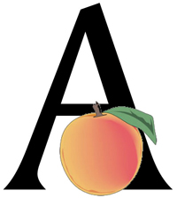 An apple in front logo